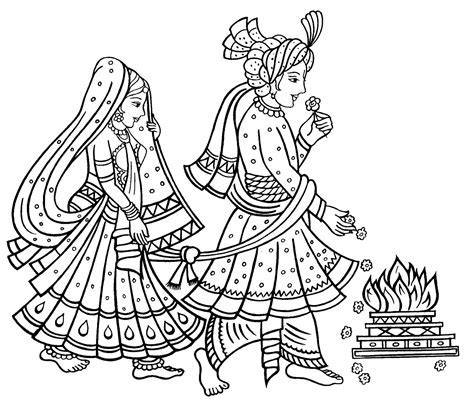 Classical clipart hindu wedding card design   Pencil and