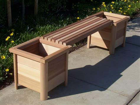 wooden bench with planters spring garden cedar
