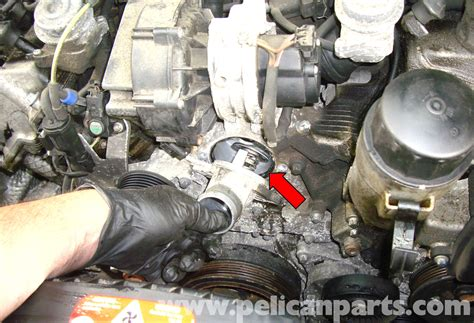 Thermostat Mercedes E200 W211 271 mercedes w211 thermostat replacement 2003 2009 e320 pelican parts diy maintenance article