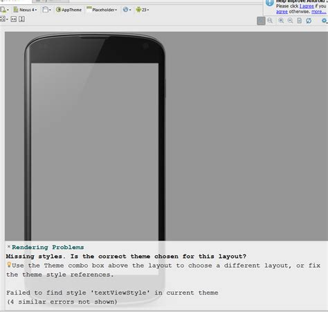android studio missing layout android studio rendering problems missing styles correct