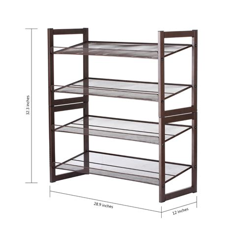 4 tier shoe rack metal mesh stand pairs storage shelf