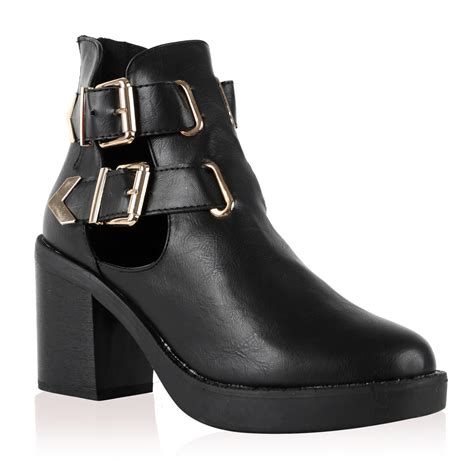 new black womens winter heel cut out buckle ankle