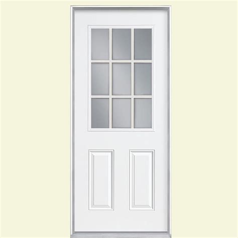 36 Inch Front Door Masonite 36 In X 80 In 9 Lite Primed Steel Prehung Right Front Door With No Brickmold