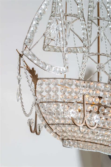 Sailboat Chandelier Beautiful Venetian Chandelier Of A Sailboat With Cut Crystals At 1stdibs