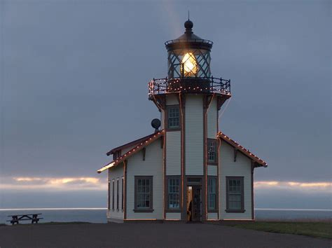 christmas lighthouse photo