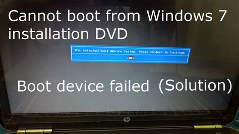 hp pavilion boot from cd how to fix the selected boot device failed press enter to