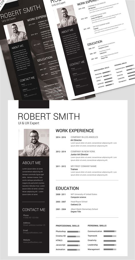 minimalist resume template photoshop free minimalistic cv resume templates with cover letter template design graphic design junction