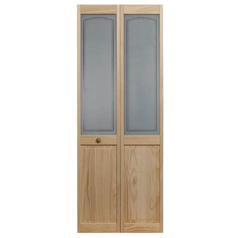 Bi Fold Doors Glass Panels Pinecroft 36 In X 80 In Mezzo Glass Raised Panel Pine Interior Bi Fold Door 874830 The