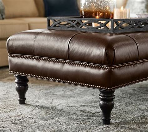 Leather Tufted Ottoman by Martin Tufted Leather Ottoman Pottery Barn