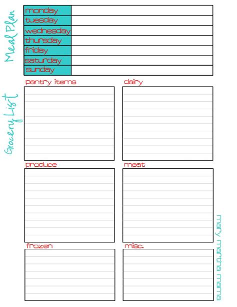 free printable grocery list and meal planner meal plan grocery list free printable mary martha mama