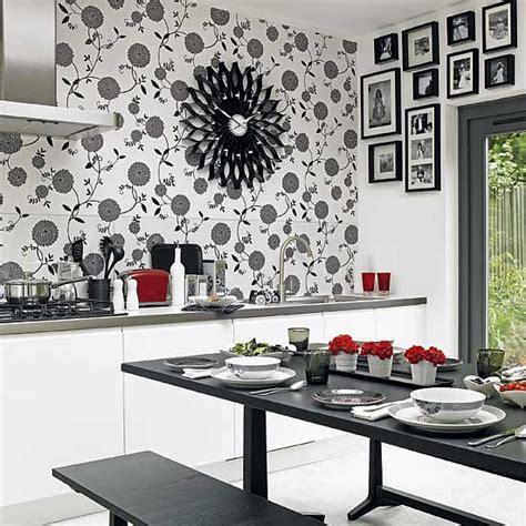 black and white wallpaper in kitchen unique kitchen wall art ideas decozilla