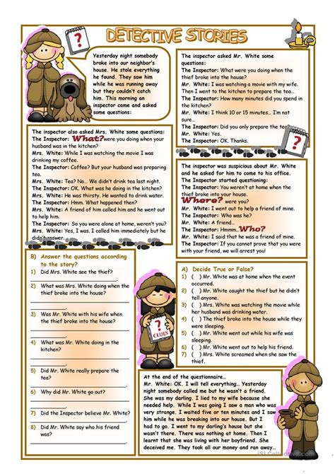 detective stories worksheet  esl printable