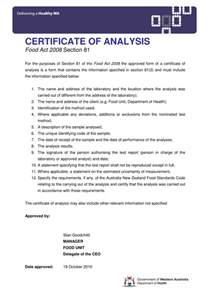 certificate of analysis template certificate of analysis templates 5 sles for word