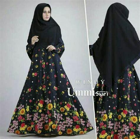 Dress Motif Bunga Warna Hitam model baju gamsi syar i terbaru motif bunga cantik dan modern