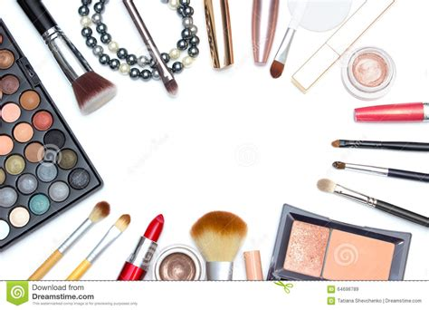 Make Up Tools set of makeup tools on white background with copyspace