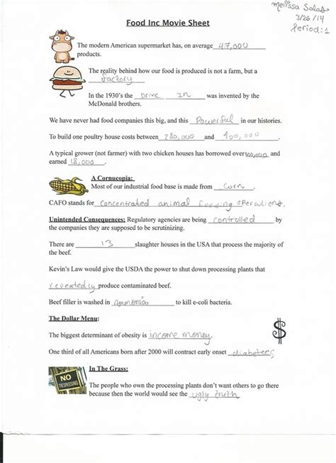 film quiz worksheet food inc movie worksheet lesupercoin printables worksheets