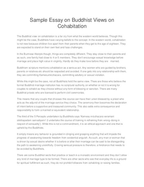 Buddhism Essay by Sle Essay On Buddhist Views On Cohabitation