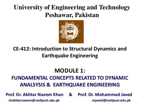 earthquake engineering and structural dynamics module 1 introduction to structural dynamics earthquake
