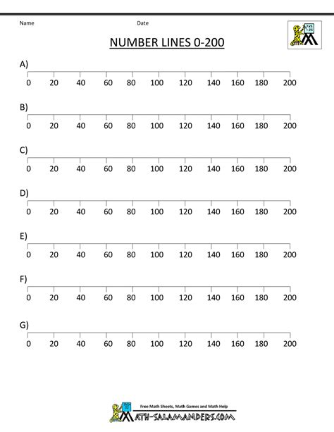 printable number line to 200 basic math worksheets 2 ordering numbers to 1000
