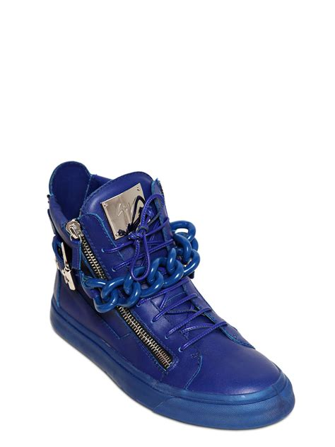 giuseppe high top sneakers lyst giuseppe zanotti metal chain leather high top
