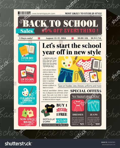 paper ad design templates back school sales promotional design template stock vector