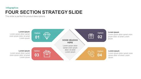 Four Section Strategy Powerpoint And Keynote Slide Slidebazaar Powerpoint Template Strategy