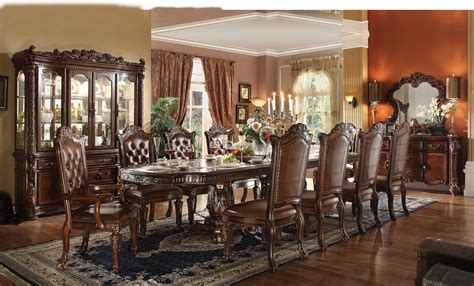 Acme Dining Room Set Acme Vendome 11pc Pedestal Dining Room Set In Cherry By Dining Rooms Outlet