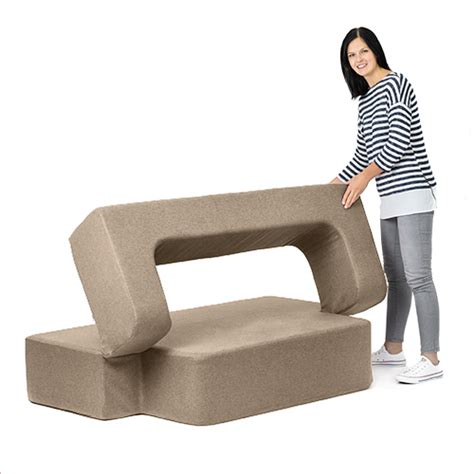 Latte Wool Feel Poppy Easy Fold Out Flip Sofa Bed Foam Flip Sofa Bed