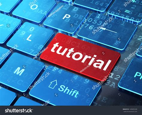 tutorial keyboard computer education concept computer keyboard with word tutorial on