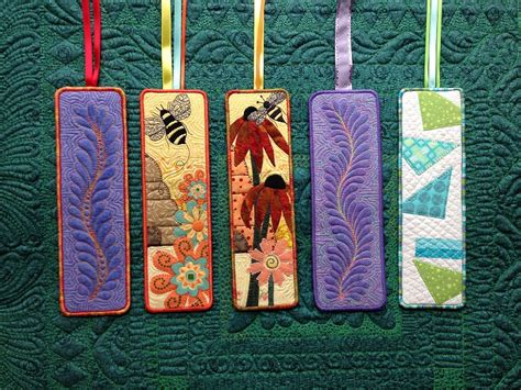 small craft projects with fabric quilted bookmarks pinteres