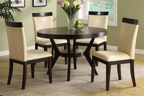 Downtown round deep espresso dining table set cream padded chairs