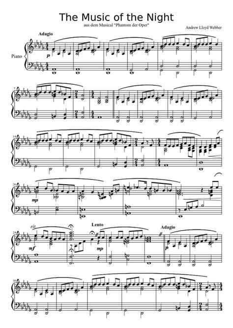 piano tutorial phantom of the opera music of the night phantom of the opera piano sheet