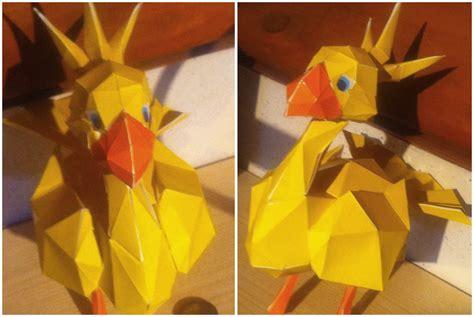 Chocobo Origami - my own chocobo papercraft by tsxworld on deviantart