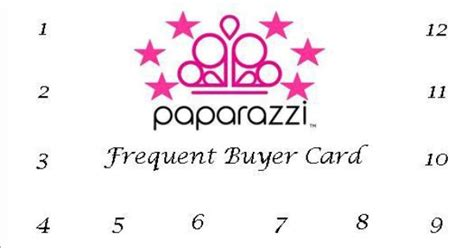 printable numbers for paparazzi team sparkle frequent buyer cards paparazzi accessories