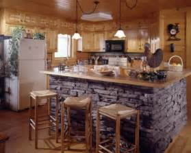 Kitchen island with stone accents