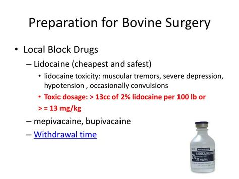 Lidocaine For Cocaine Detox by Ppt Bovine Surgical Procedures Key Terms