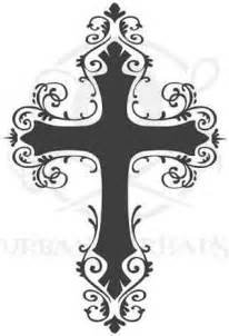 grey ink gothic cross tattoo design