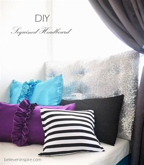 Diy Foam Headboard Diy Sequined Headboard From Foam Board For