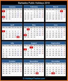 Calendar 2018 Barbados Barbados Holidays 2018 Holidays Tracker