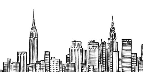 new york city skyline nyc empire state chrystler building ink line duopress doodle