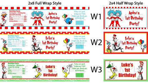 Thing 1 Thing 2 Baby Shower Supplies by Dr Seuss Thing 1 2 Water Bottle Labels Birthday