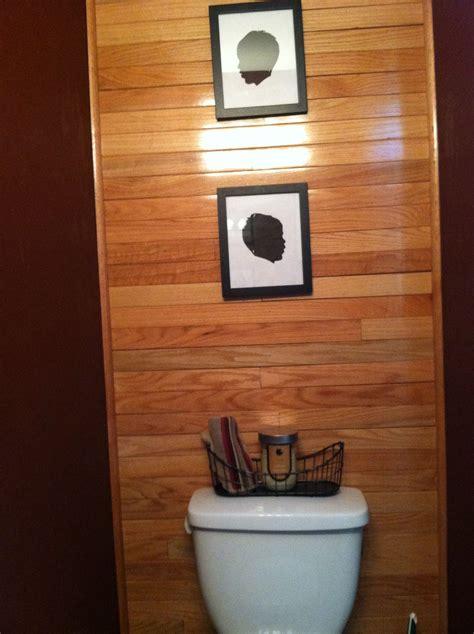 bathroom wall   leftover hardwood flooring
