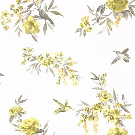grey ochre wallpaper holden amaya floral pattern flower humming bird motif