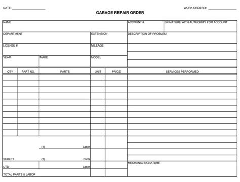 Auto Repair Invoice Templates 10 Printable And Fillable Formats Auto Repair Receipt Template Free