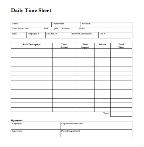 26 Blank Timesheet Templates Free Sle Exle Format Download Free Premium Templates Free Blank Time Card Template