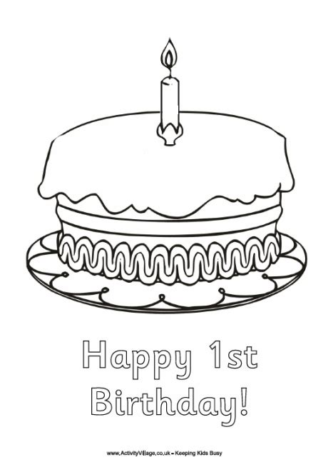 happy 1st birthday colouring page