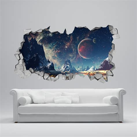 space wall stickers space broken wall decal 3d wallpaper 3d wall decals 3d