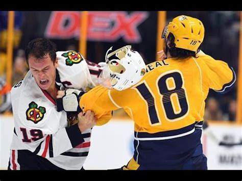 toews and kane fight on bench jonathan toews fights james neal oct 14 2016 doovi