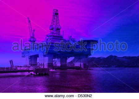 sea gas platform in the gulf of biscay, spain, cantabric