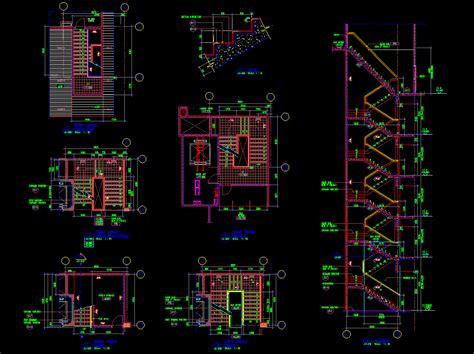 Gsm Pagar Kayu gambar autocad desain denah dan potongan tangga gedung 5